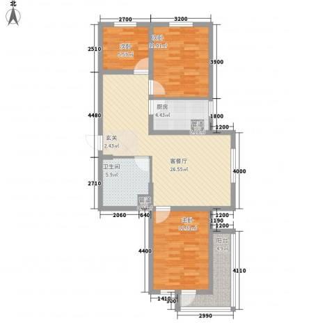 广厦新城3室1厅1卫1厨71.10㎡户型图