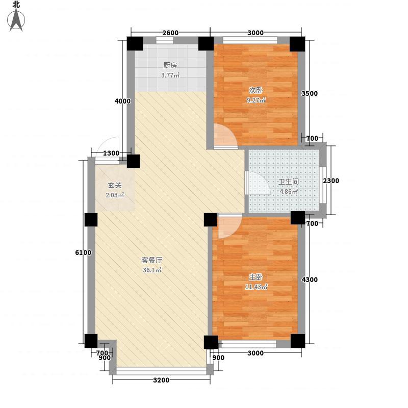 人禾金华苑74.54㎡211-7454户型2室1厅1卫