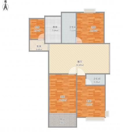 世纪名郡4室1厅2卫1厨147.00㎡户型图