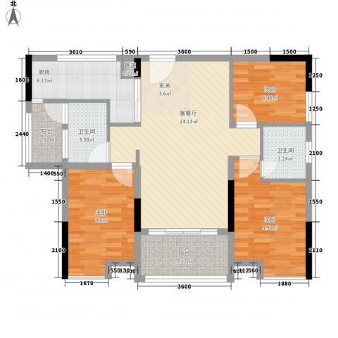 鸿翠阁3室1厅2卫1厨84.00㎡户型图