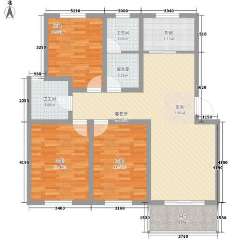 蓝天花园3室2厅2卫1厨121.00㎡户型图