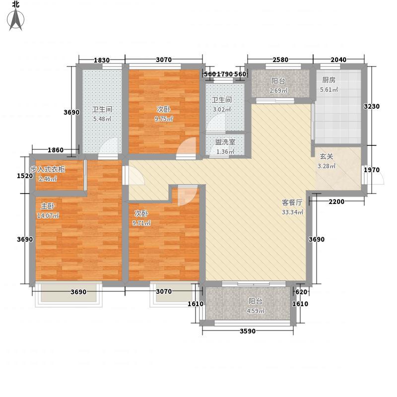 神火铭锦天下135.11㎡C-2户型3室2厅2卫1厨