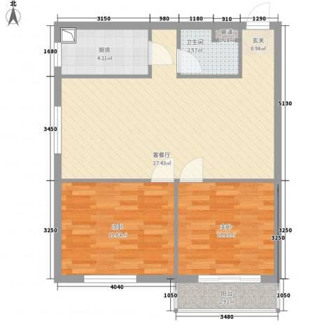 皇家壹里2室1厅1卫1厨83.00㎡户型图