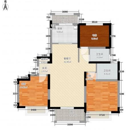 翰庭雅苑3室1厅2卫1厨122.00㎡户型图