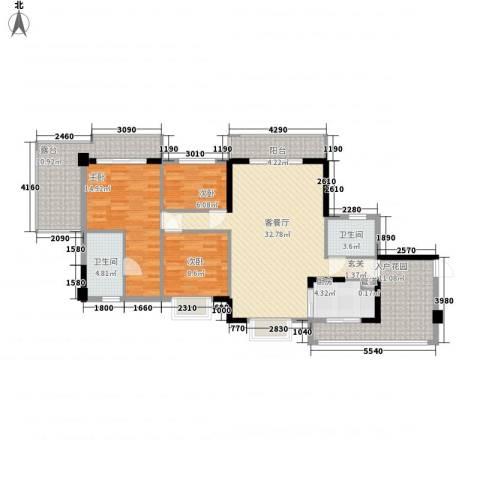 崇雅公寓3室1厅2卫1厨145.00㎡户型图