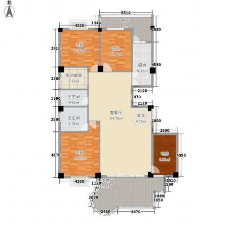 龙汇花园4室1厅2卫1厨166.28㎡户型图