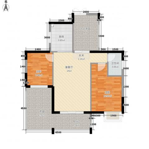 诚丰怡园2室1厅1卫1厨83.00㎡户型图