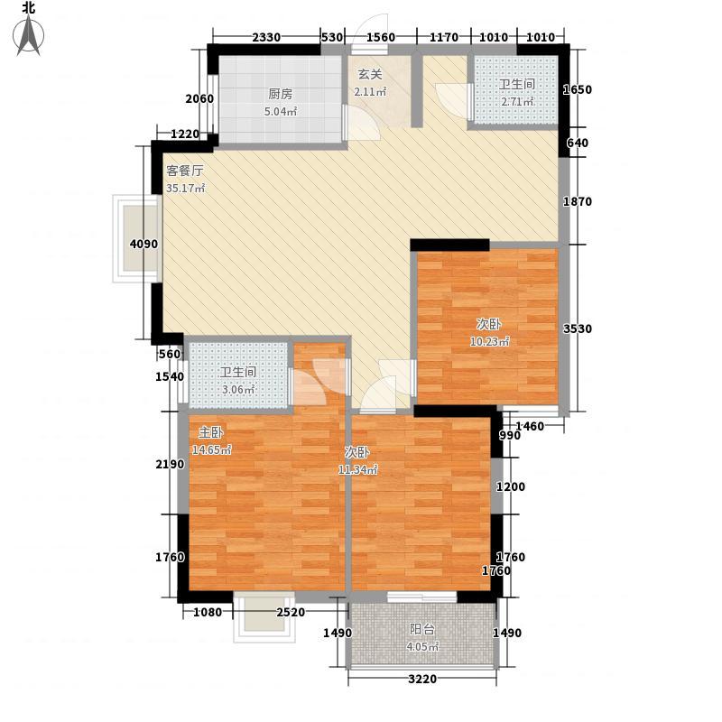 亿龙・福星城118.00㎡2B户型3室2厅2卫1厨