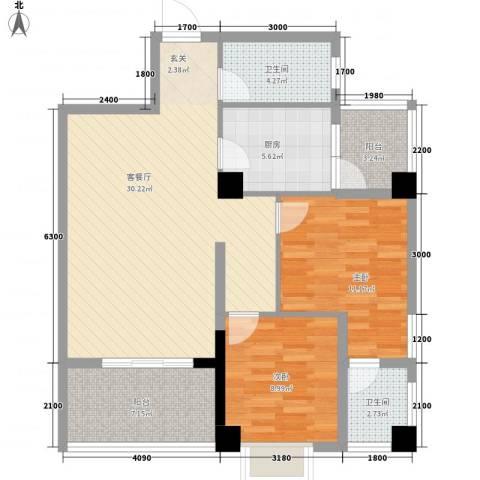 兴业城2室1厅2卫1厨73.39㎡户型图