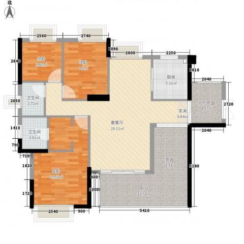 诚丰怡园3室1厅2卫1厨130.00㎡户型图