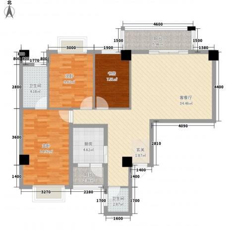 兴业城3室1厅2卫1厨121.00㎡户型图