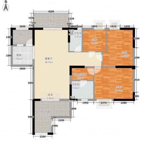 荔园悦享星醍3室1厅2卫1厨114.39㎡户型图