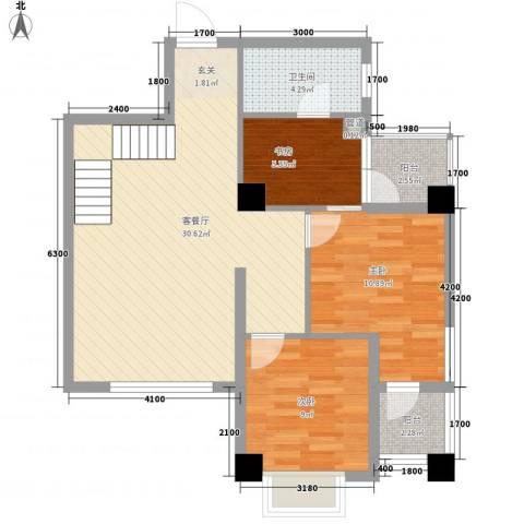兴业城3室1厅1卫0厨93.00㎡户型图