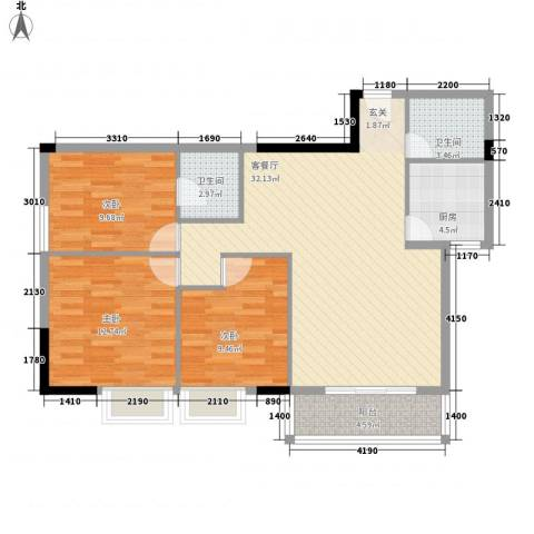 财富广场3室1厅2卫1厨79.51㎡户型图
