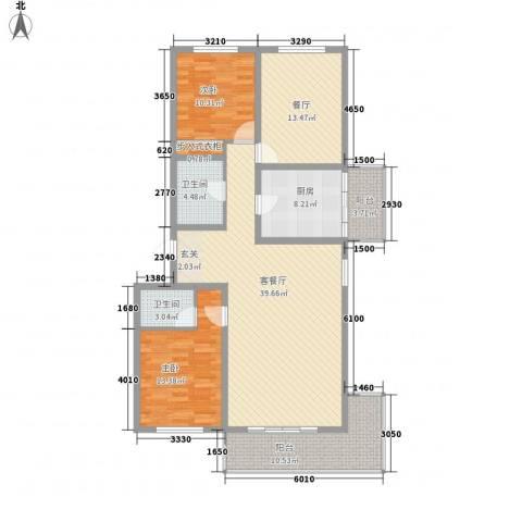 锦绣小区2室2厅2卫1厨153.00㎡户型图