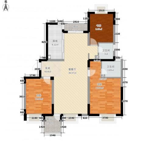 金都名苑3室1厅2卫1厨131.00㎡户型图