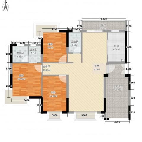春泽上湾3室1厅2卫1厨155.00㎡户型图