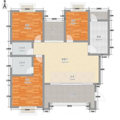 云都国际3室1厅2卫1厨157.00㎡户型图