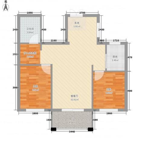山水华庭2室1厅1卫1厨1288.00㎡户型图
