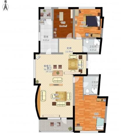 万科柏翠园3室1厅2卫1厨189.00㎡户型图