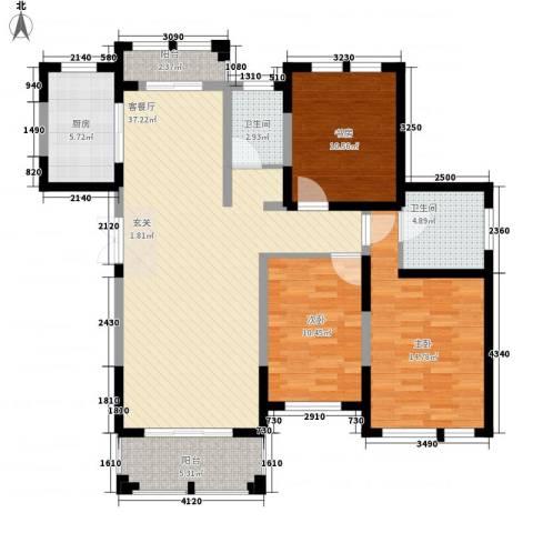 衡山城3室1厅2卫1厨108.80㎡户型图