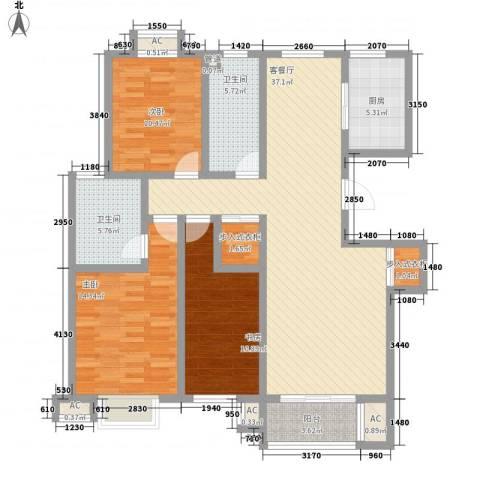 东升家园3室1厅2卫1厨138.00㎡户型图