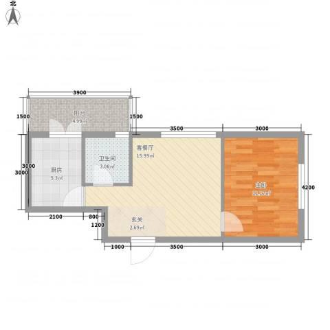 民乐・观澜时代1室1厅1卫1厨40.50㎡户型图