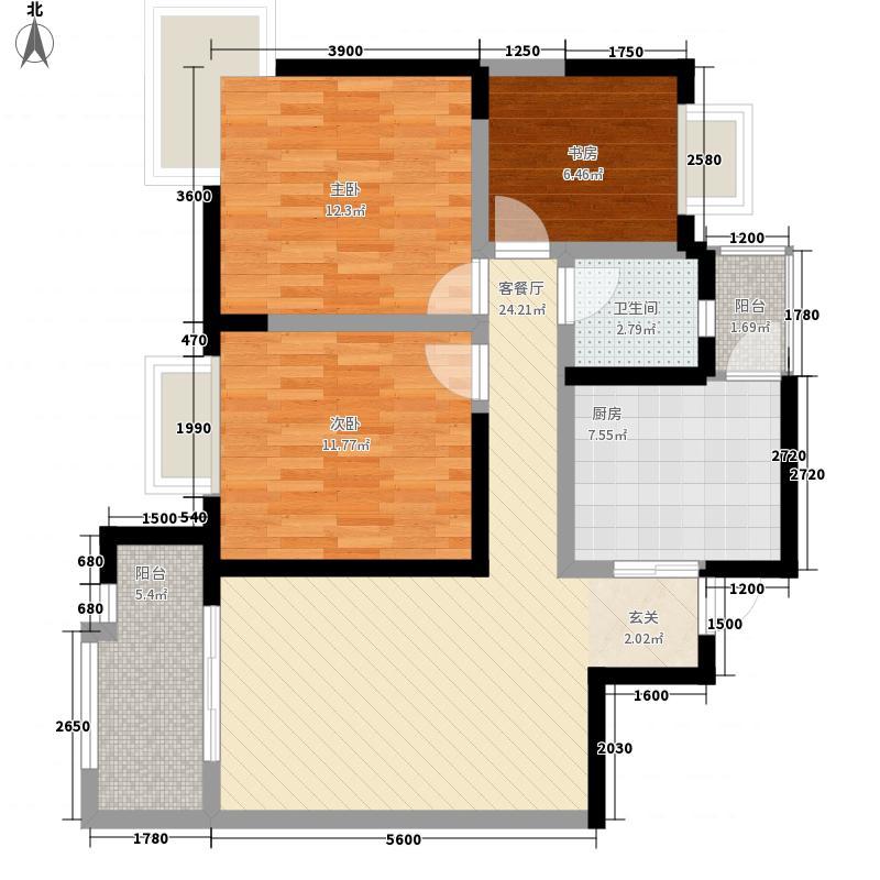爱众・领域黄金水岸7.55㎡B1户型3室2厅1卫1厨