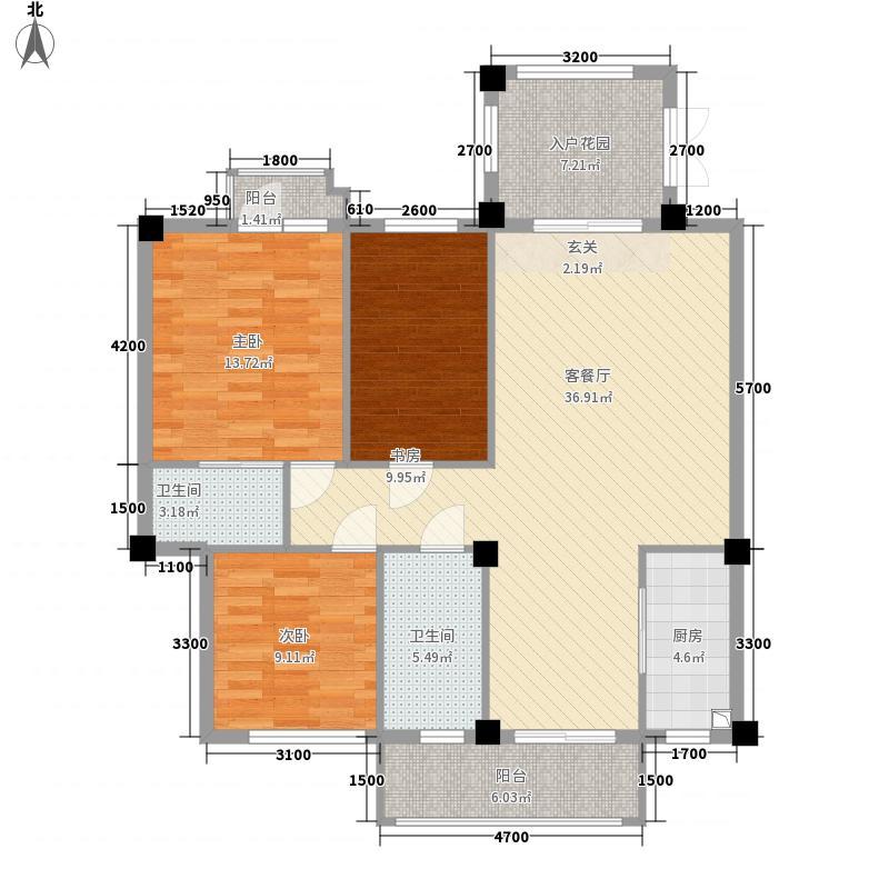 招商依山海二期B1b户型3室2厅2卫1厨