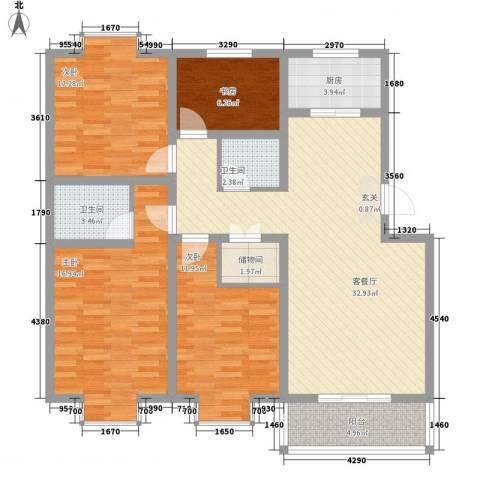 世嘉馨城4室1厅2卫1厨136.00㎡户型图