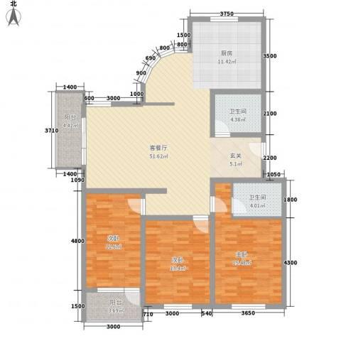 大通绿岛家园格林风尚3室1厅2卫0厨137.00㎡户型图
