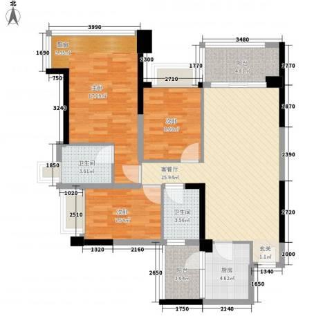 雅居乐约克郡3室1厅2卫1厨114.00㎡户型图