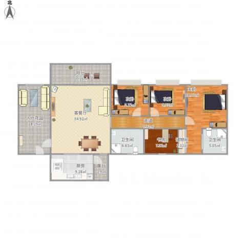 凯茵新城雅湖居4室1厅2卫1厨188.00㎡户型图