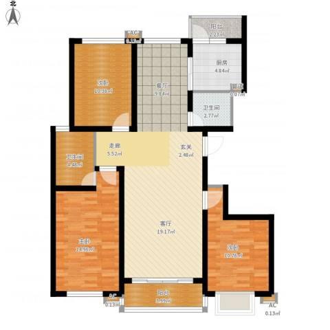 领秀天成3室1厅2卫1厨133.00㎡户型图