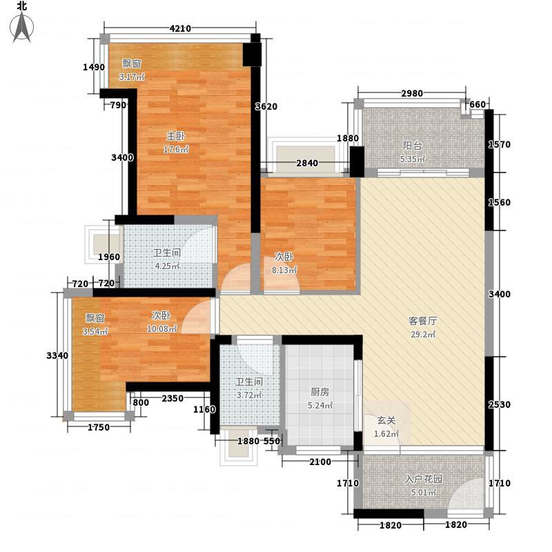 雅居乐约克郡128.00㎡10栋/11栋0户型3室2厅2卫1厨