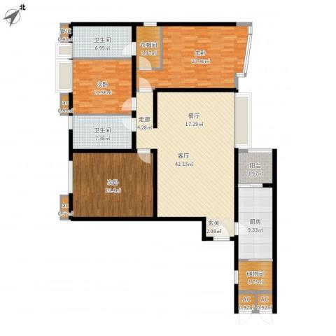 天誉花园3室1厅2卫1厨189.00㎡户型图