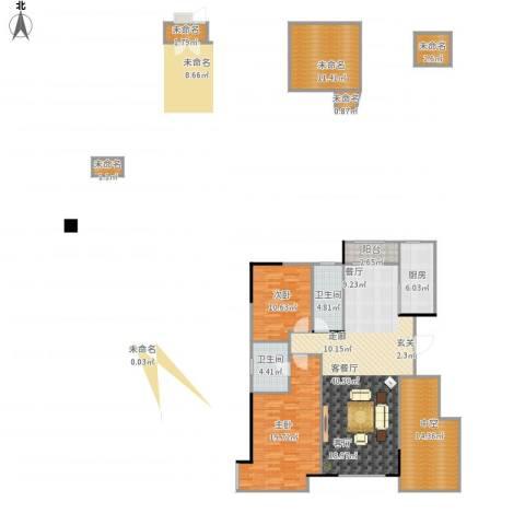 万科魅力之城三期2室1厅2卫1厨163.00㎡户型图