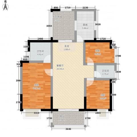 诚丰怡园3室1厅2卫1厨118.00㎡户型图