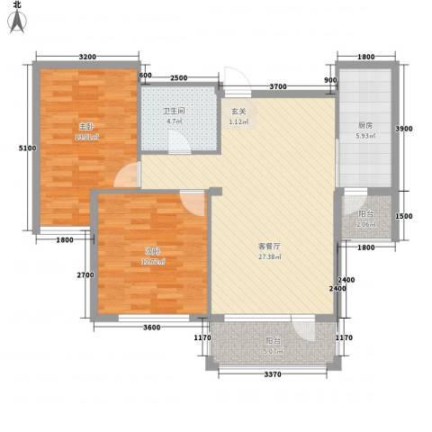 白鸽湾花园广场2室1厅1卫1厨99.00㎡户型图
