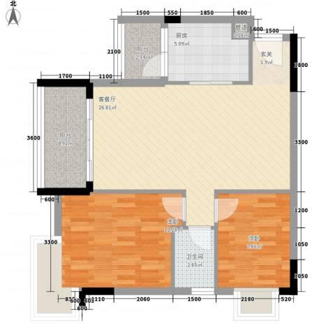 里维埃拉2室1厅1卫1厨88.00㎡户型图