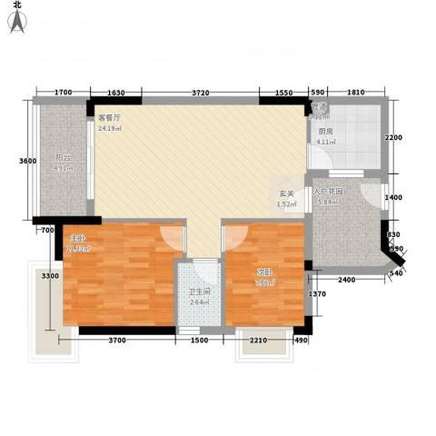 里维埃拉2室1厅1卫1厨87.00㎡户型图