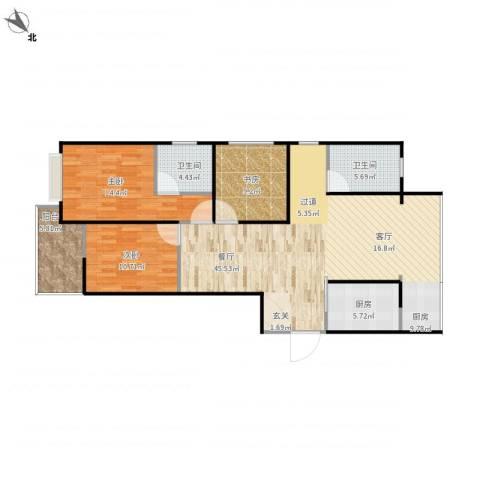 江南翡翠3室1厅2卫1厨130.00㎡户型图