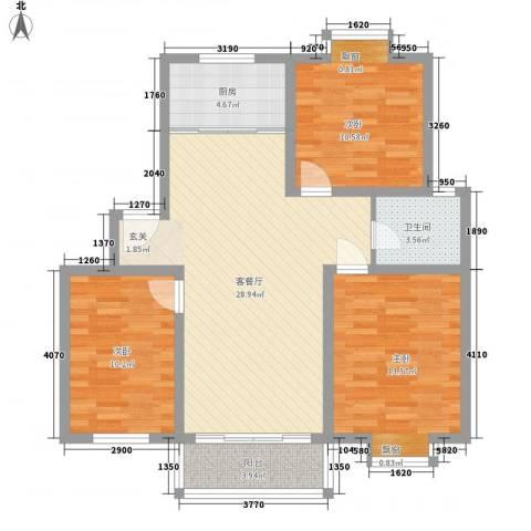 望馨花苑3室1厅1卫1厨75.26㎡户型图
