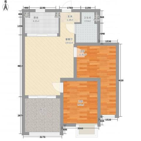 中房・金沙滩澜湾2室1厅1卫1厨83.00㎡户型图
