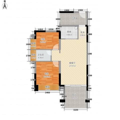 望馨花苑2室1厅1卫1厨103.00㎡户型图