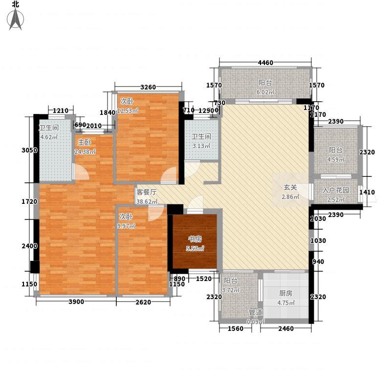盛天公馆|88街区127.00㎡5#楼B座06户型3室2厅2卫1厨