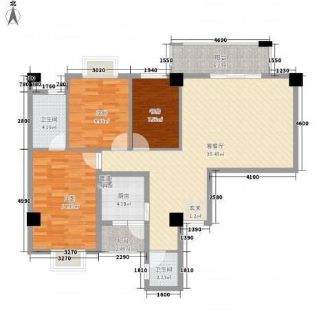 兴业城3室1厅2卫1厨124.00㎡户型图