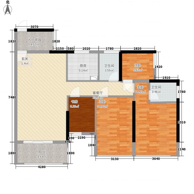 盛天公馆|88街区112.00㎡5#楼B座03户型3室2厅2卫1厨
