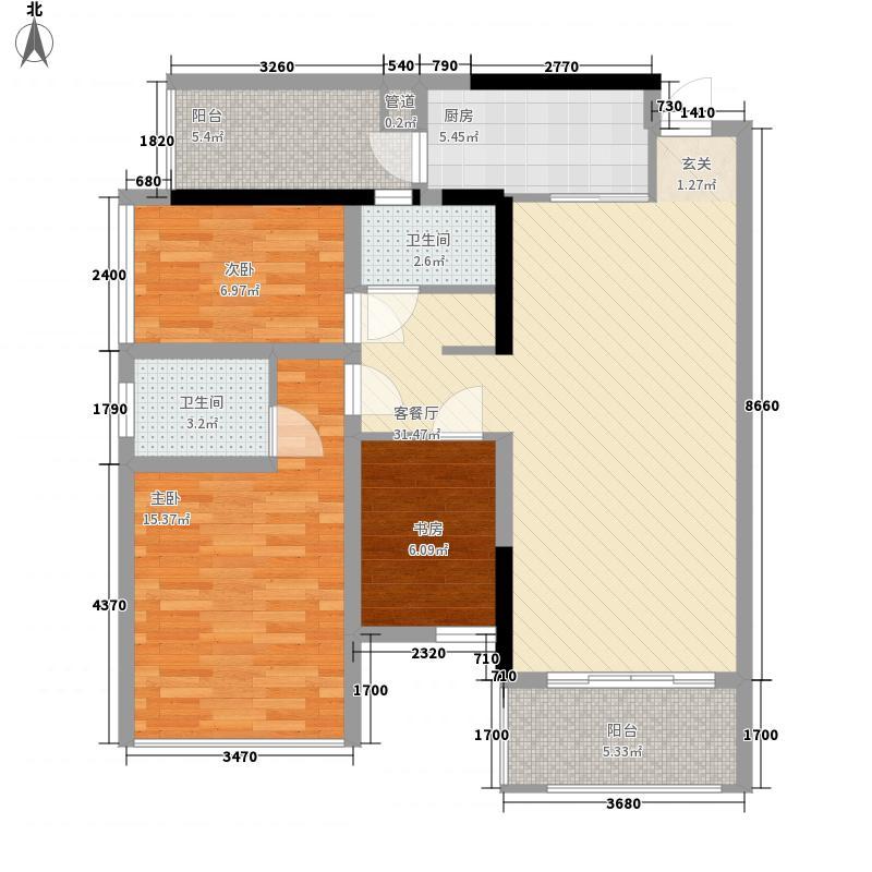 盛天公馆|88街区88.00㎡5#A座03户型2室2厅2卫1厨