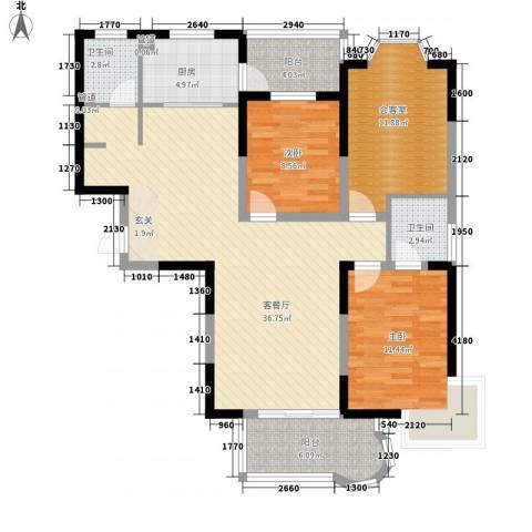 观海苑国际家居广场2室1厅2卫1厨128.00㎡户型图